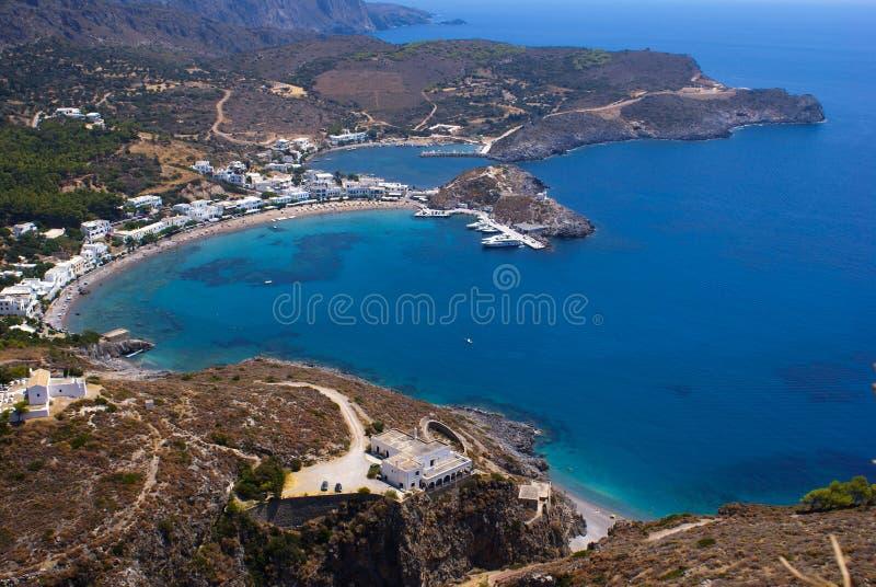 Opinión panorámica sobre la isla de Kythera imagen de archivo