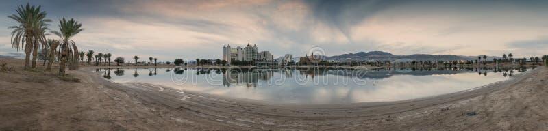 Opinión panorámica sobre la playa septentrional de Eilat foto de archivo libre de regalías
