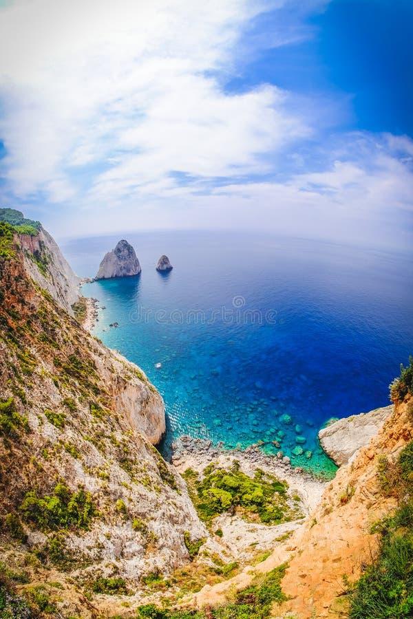 Opinión panorámica Zakynthos Grecia del cabo de Keri foto de archivo