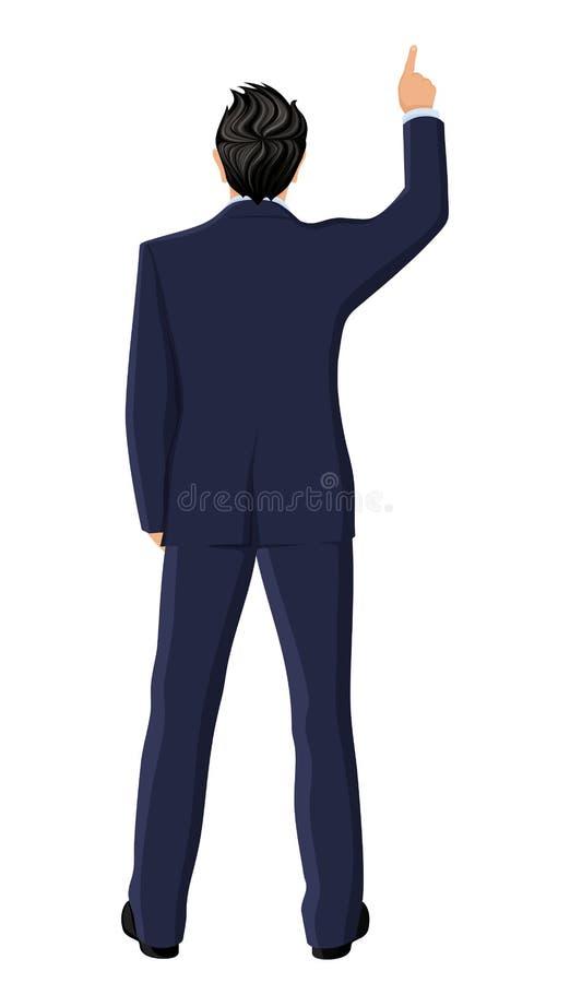 Opinión posterior del hombre de negocios stock de ilustración