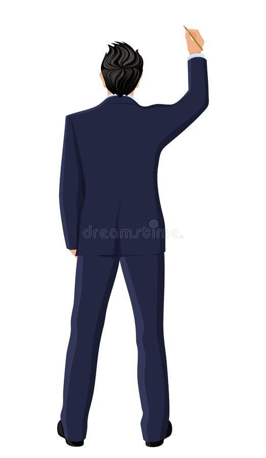 Opinión posterior del hombre de negocios ilustración del vector