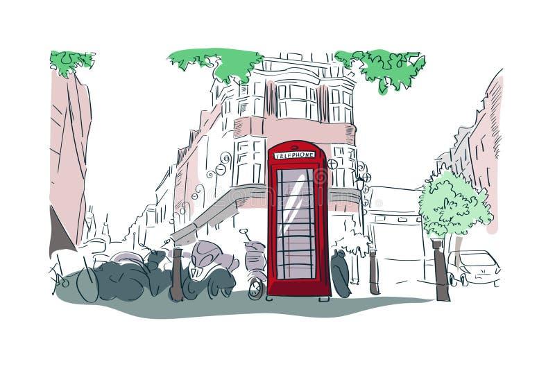Opinión roja de la calle del ejemplo de la acuarela del vector de la cabina de teléfono de Londres libre illustration
