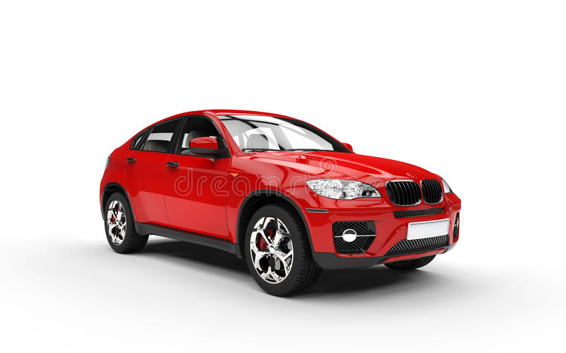 Opinión roja del frontal izquierda de SUV ilustración del vector