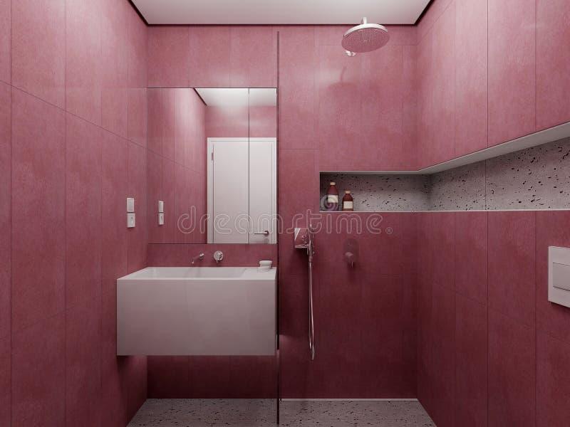 Opinión roja moderna del cuarto de baño stock de ilustración