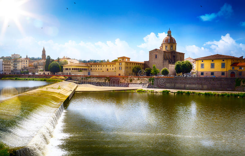 Opinión romántica del arte en Florencia Italia Toscana; Ciudad vieja fotos de archivo