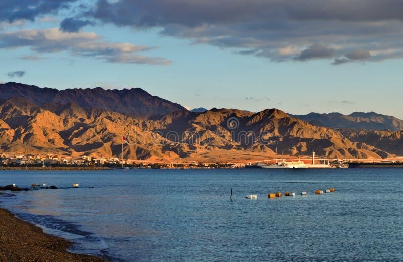 Opinión sobre el acceso de Aqaba, Jordania imágenes de archivo libres de regalías