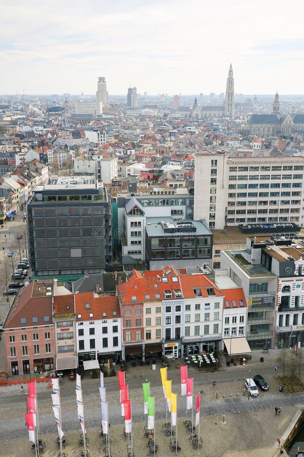 Opinión sobre el centro de Amberes, Bélgica fotografía de archivo