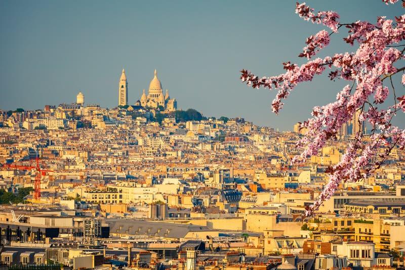 Opinión sobre el coeur de Sacre, Montmartre, París imagen de archivo
