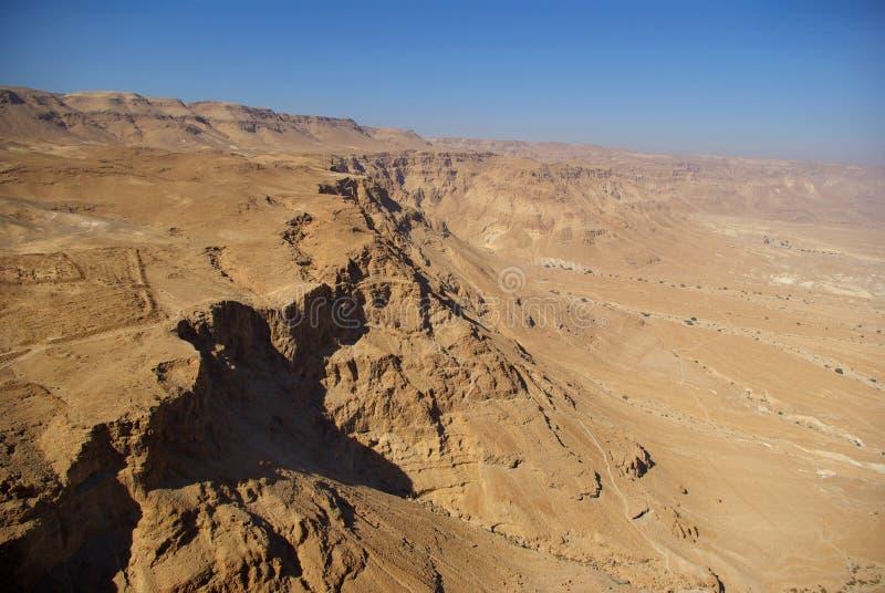 Opinión sobre el desierto de Judean de la fortaleza de Masada foto de archivo