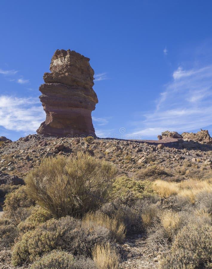 Opinión sobre el finger de dioses de Roque Cinchado, formación de roca famosa en Roq fotografía de archivo libre de regalías