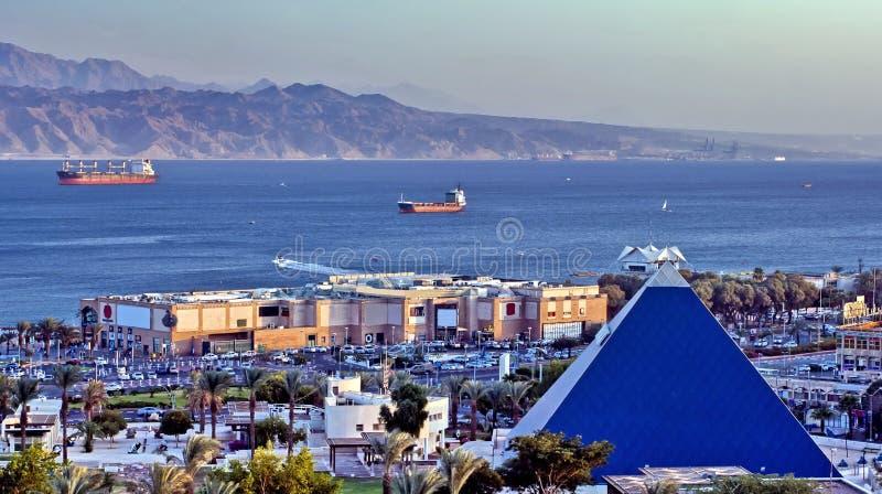 Opinión sobre el golfo de Eilat, Israel de Aqaba foto de archivo libre de regalías
