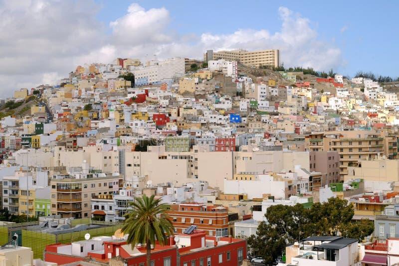 Opinión sobre el Las Palmas de la ciudad, la capital de Gran Canaria, España - 13 02 2017 foto de archivo