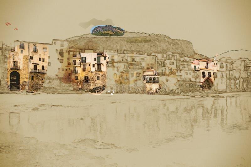 Opinión sobre habour y casas viejas en Cefalu en la noche, Sicilia libre illustration