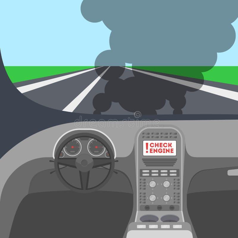Opinión sobre la calle del coche Interiortransportation del manejo wheel ilustración del vector