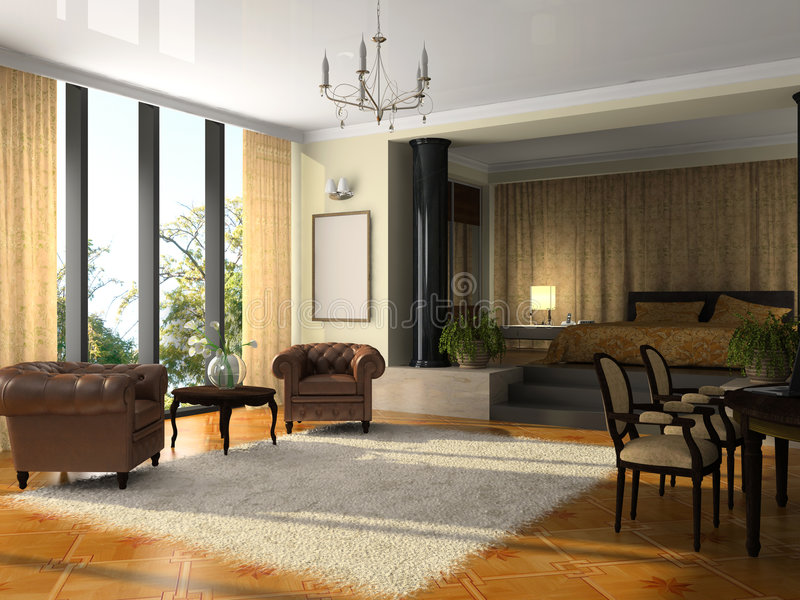 Opinión sobre la habitación de hotel moderna stock de ilustración