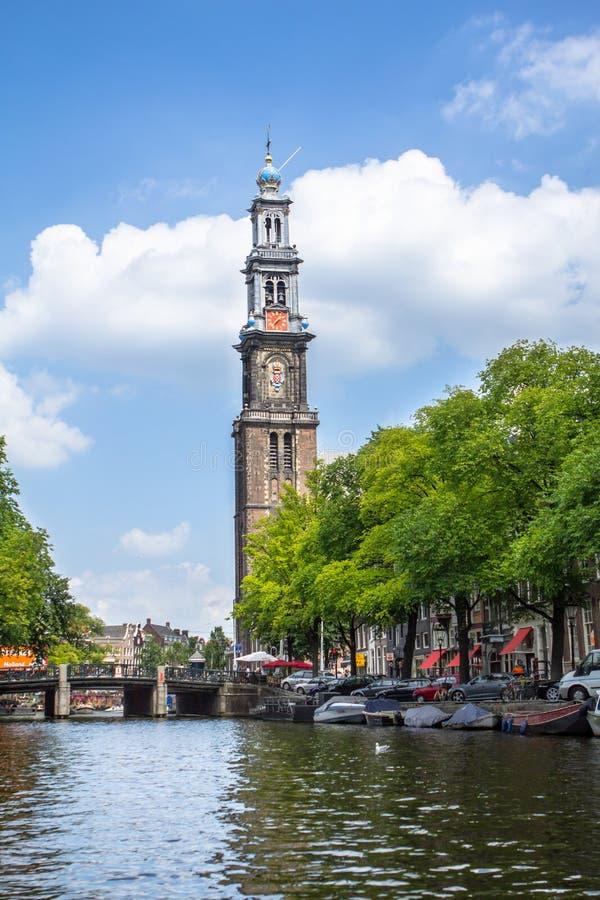 Opinión sobre la iglesia occidental, Amsterdam, Países Bajos imagen de archivo libre de regalías