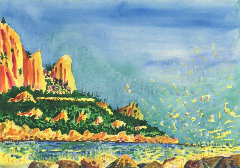 Opinión sobre la orilla de mar con los acantilados y las rocas ilustración del vector