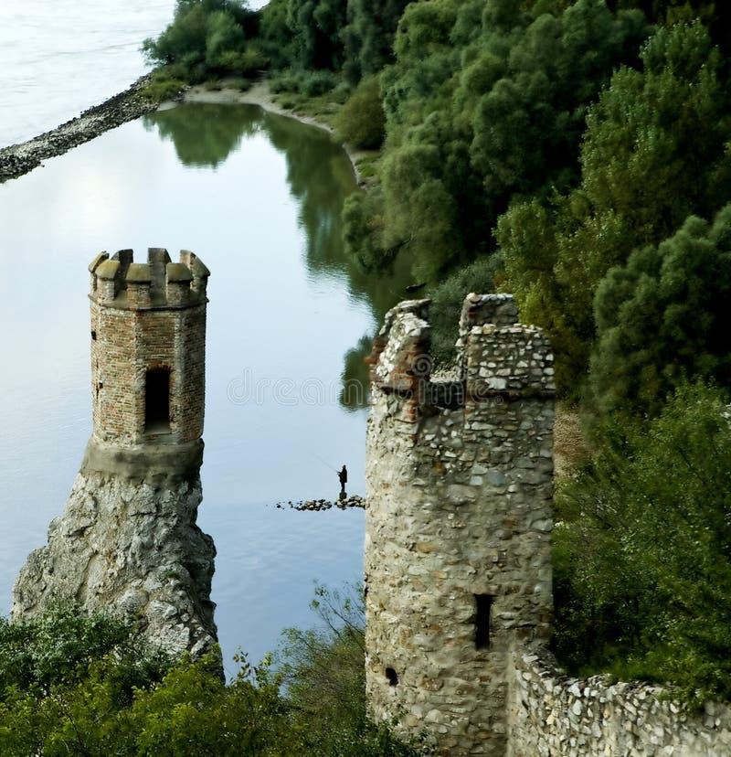 Opinión sobre la parte del castillo de Devin imágenes de archivo libres de regalías