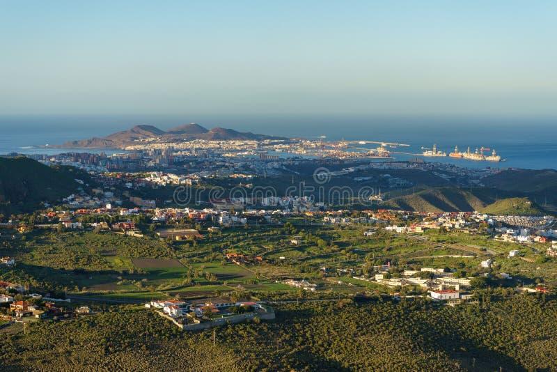 Opinión sobre Las Palmas, Gran Canaria, España de la puesta del sol imagen de archivo libre de regalías
