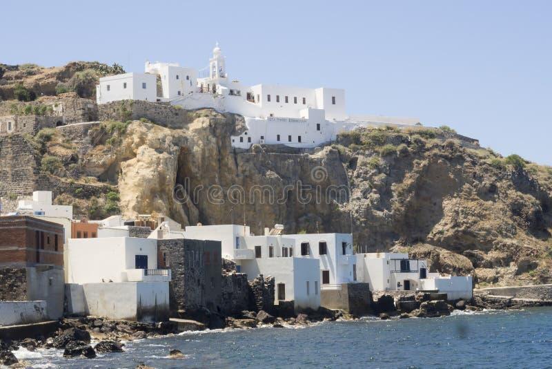 Opinión sobre Mandraki, Nisiros, Grecia fotos de archivo libres de regalías