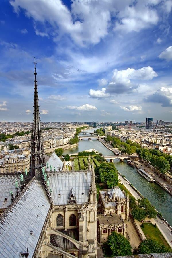 Opinión sobre París de Notre Dame fotografía de archivo libre de regalías