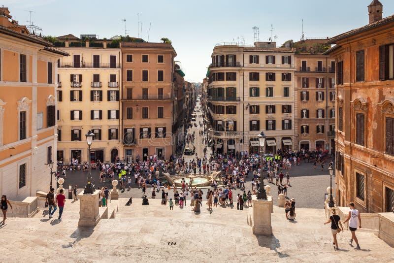 Opinión sobre pasos españoles en Roma, Italia fotos de archivo libres de regalías