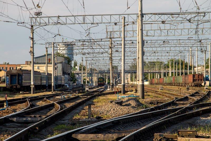 Opinión sobre pistas de un ferrocarril imagen de archivo libre de regalías