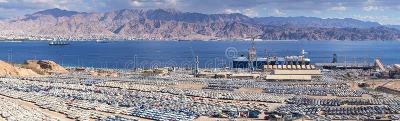 Opinión sobre puerto comercial del cargo marino en Eilat fotos de archivo libres de regalías