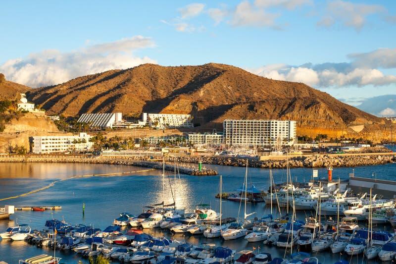 Opinión sobre Puerto de Mogan, Gran Canaria foto de archivo
