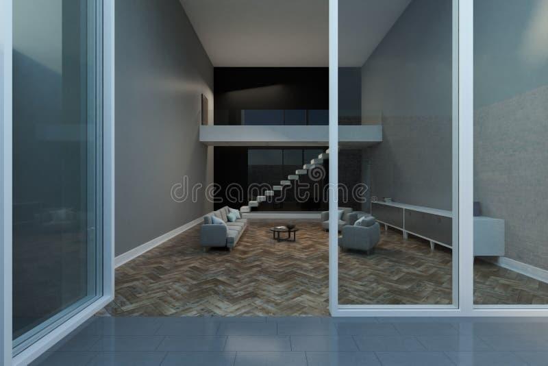 Opinión sobre sala de estar del exterior ilustración del vector