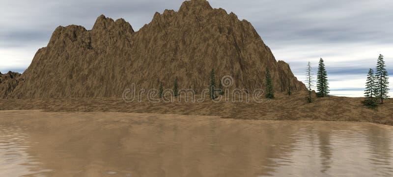 Opinión sobre una pequeña roca con los árboles y agua ilustración del vector