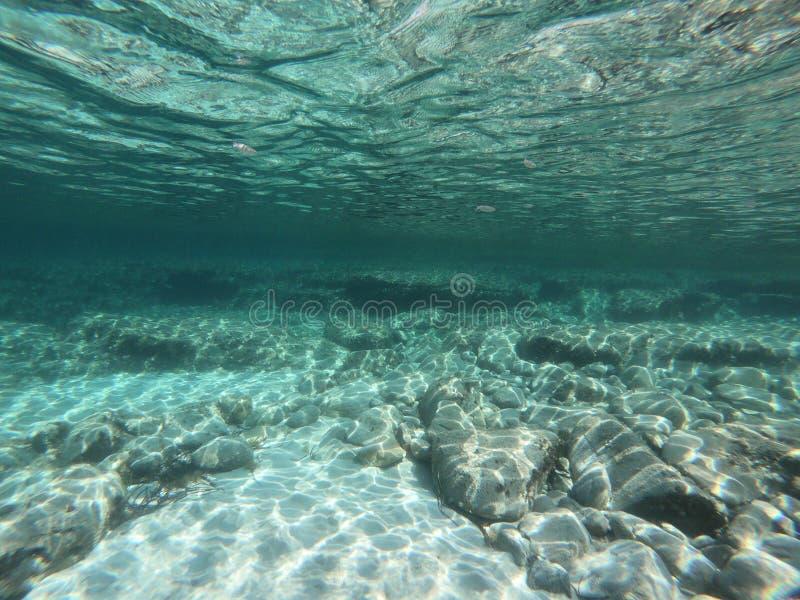 Opinión subacuática de la turquesa de la luz y de la reflexión fotografía de archivo libre de regalías