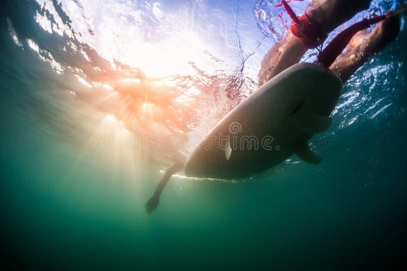 Opinión subacuática la persona en el tablero imagenes de archivo