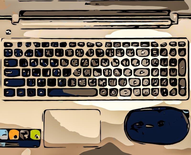 Opinión superior abstracta el teclado del ordenador portátil y el ratón negro usados como plantilla foto de archivo libre de regalías