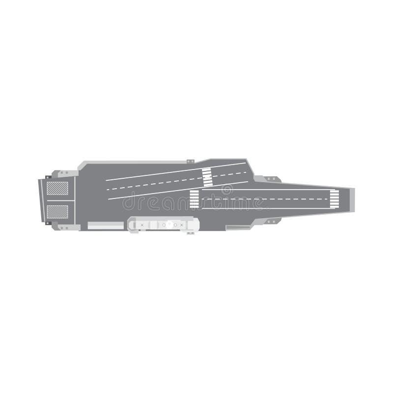 Opinión superior aislada del barco de la Armada de portaaviones del icono plano blanco del transporte marino libre illustration