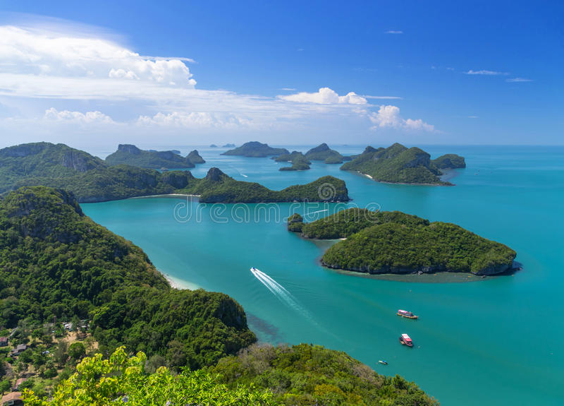 Opinión superior Ang Thong National Marine Park, Tailandia foto de archivo