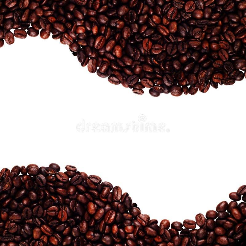Opinión superior asada de los granos de café sobre el fondo blanco con el espacio de la copia foto de archivo