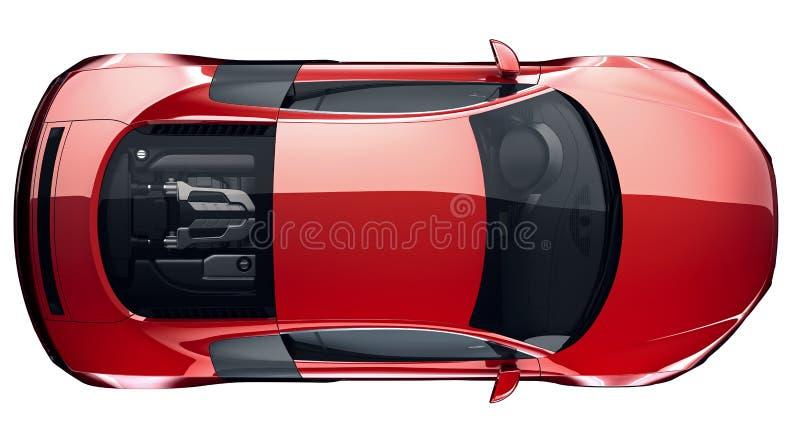 Opinión superior automotriz de los deportes rojos stock de ilustración