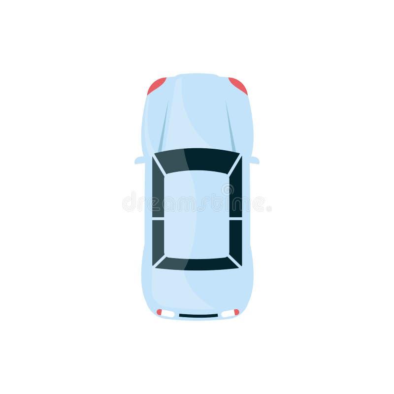 Opinión superior automotriz del sedán azul claro del automóvil moderno con la capilla redondeada libre illustration
