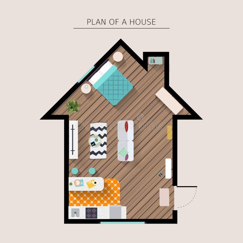 Opinión superior de arriba de los muebles de la casa Ejemplo plano del vector del estilo libre illustration