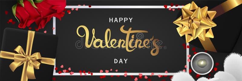 Opinión superior de día de San Valentín de la bandera de la endecha horizontal realista feliz del plano libre illustration