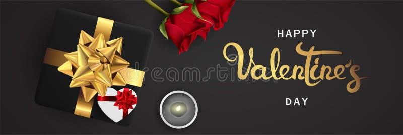 Opinión superior de día de San Valentín de la bandera de la endecha horizontal realista feliz del plano ilustración del vector