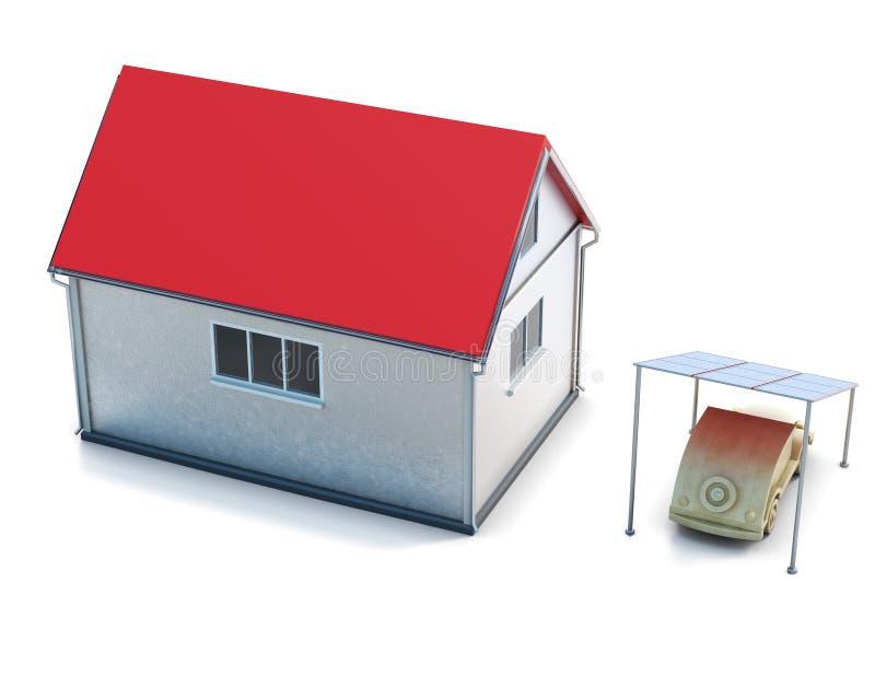 Opinión superior de la casa del concepto de Eco sobre el fondo blanco 3d rinden los cilindros de image stock de ilustración