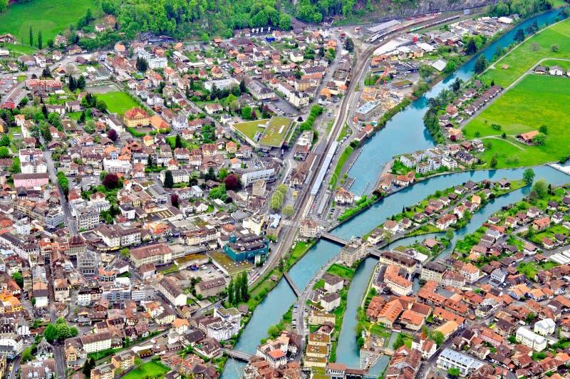 Opinión superior de la ciudad suiza foto de archivo libre de regalías
