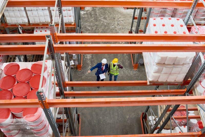 Opinión superior de la inspección de Warehouse imagenes de archivo