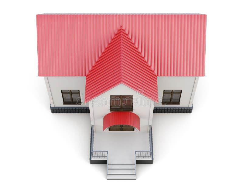 Opinión superior de la pequeña casa aislada representación 3d stock de ilustración