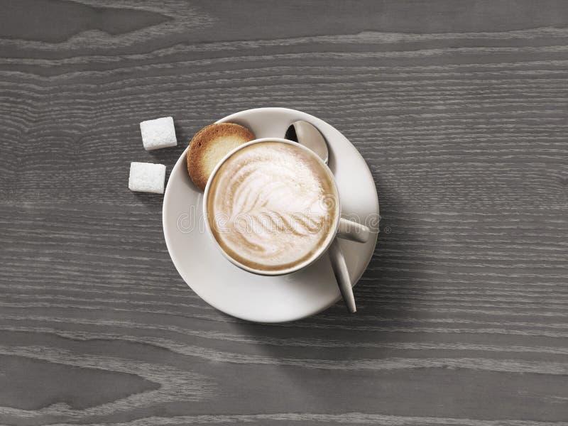 Opinión superior de la taza de café sobre fondo de madera oscuro de la tabla fotos de archivo libres de regalías