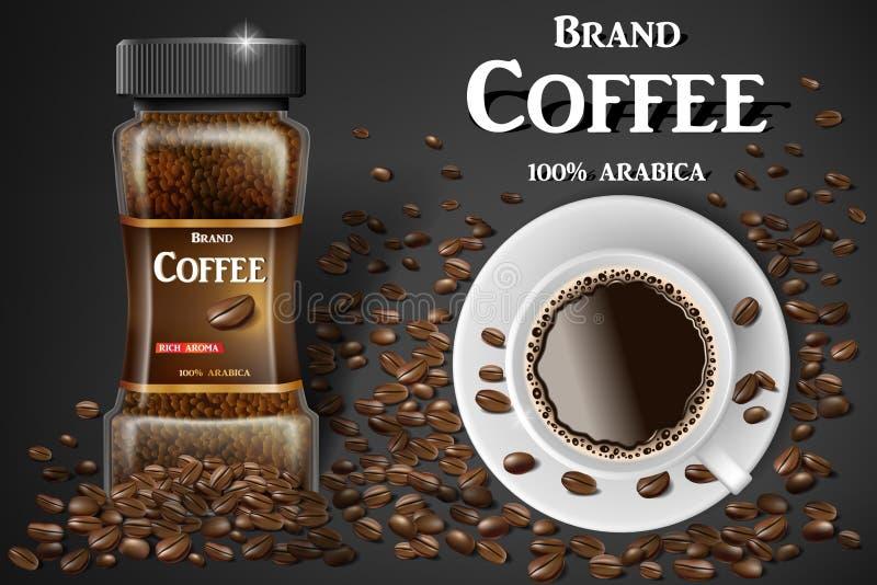 Opinión superior de la taza negra del café instantáneo y anuncios de las habas ejemplo 3d de la taza de café caliente Diseño de p ilustración del vector