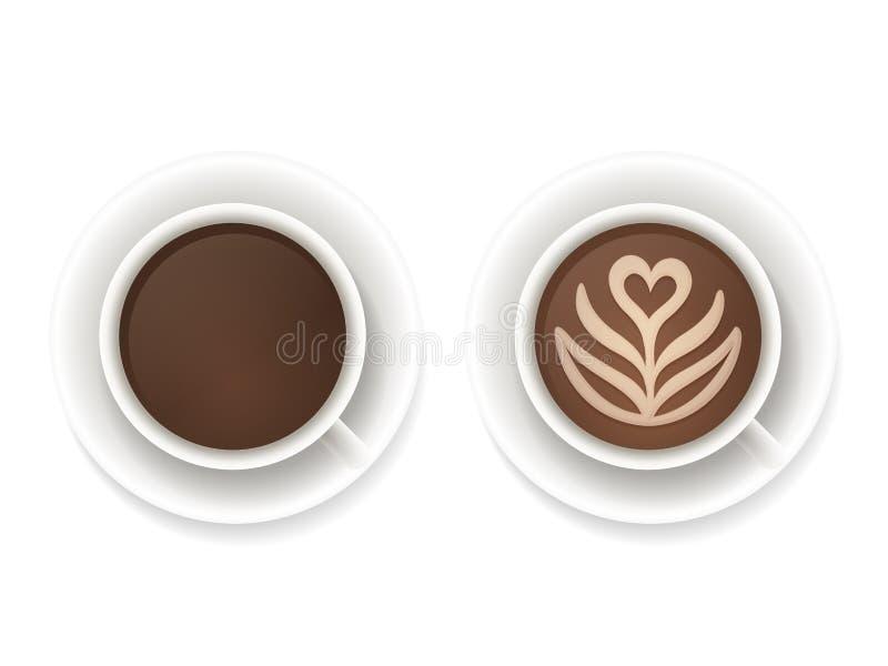 Opinión superior de las tazas de café stock de ilustración