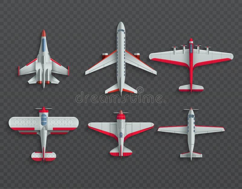 Opinión superior de los aeroplanos y de los aviones militares iconos del vector del avión de pasajeros 3d y del combatiente stock de ilustración